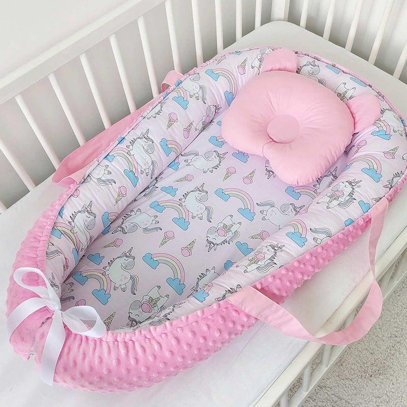 Кокон гнездышко для новорожденного Радужный Единорог