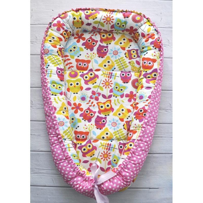 Гнездышко-кокон для новорожденных Розовый Совенок