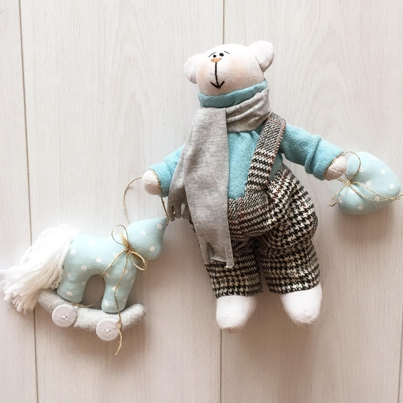 Інтер'єрна лялька Тільда ручної роботи Білий Тедді