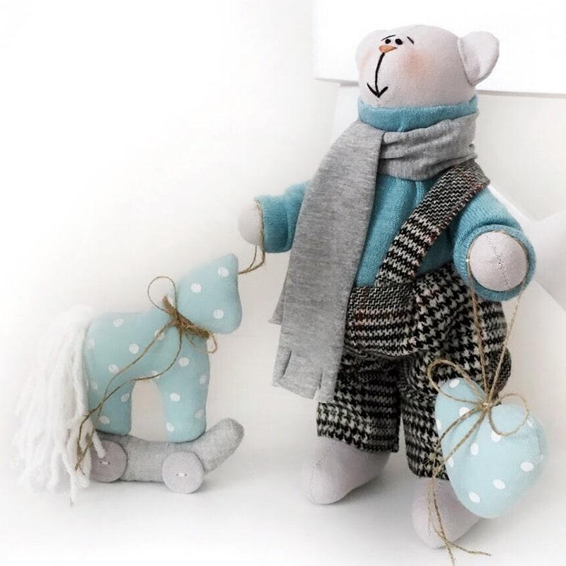 Кукла интерьерная Тильда ручной работы Белый Тедди