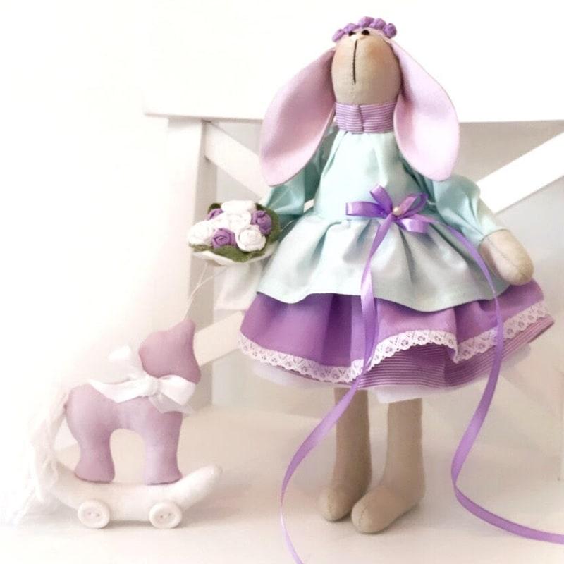 Кукла тильда ручной работы Зайка Виолетта
