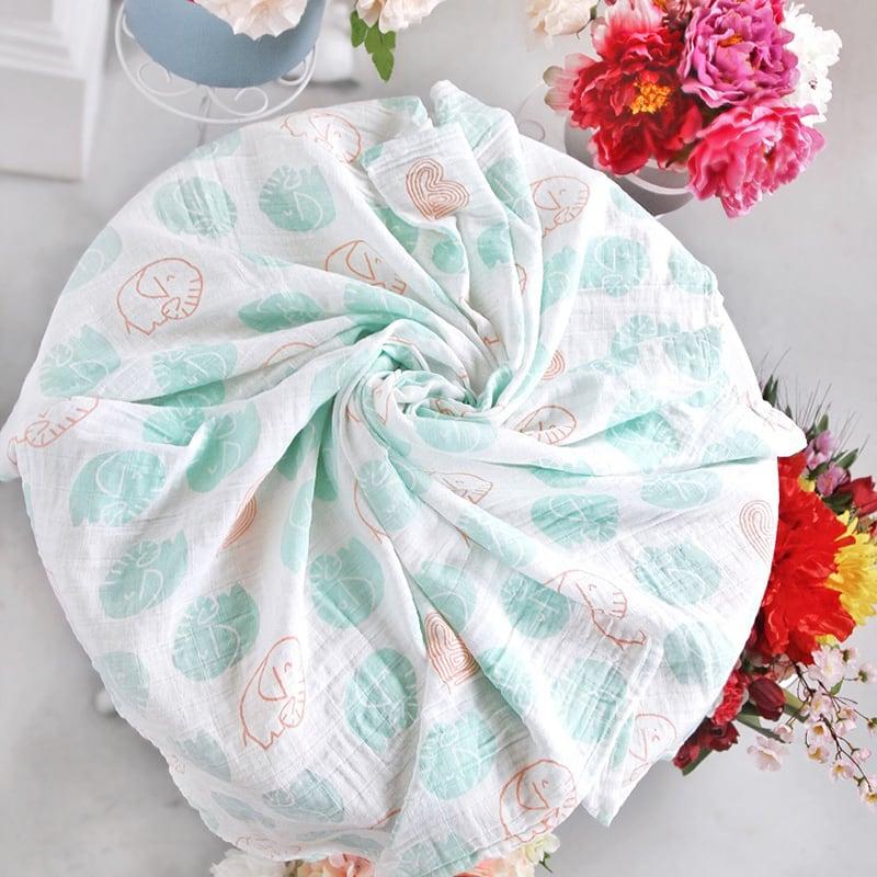 Муслиновые пеленки новорожденным Peppermint Еlephant