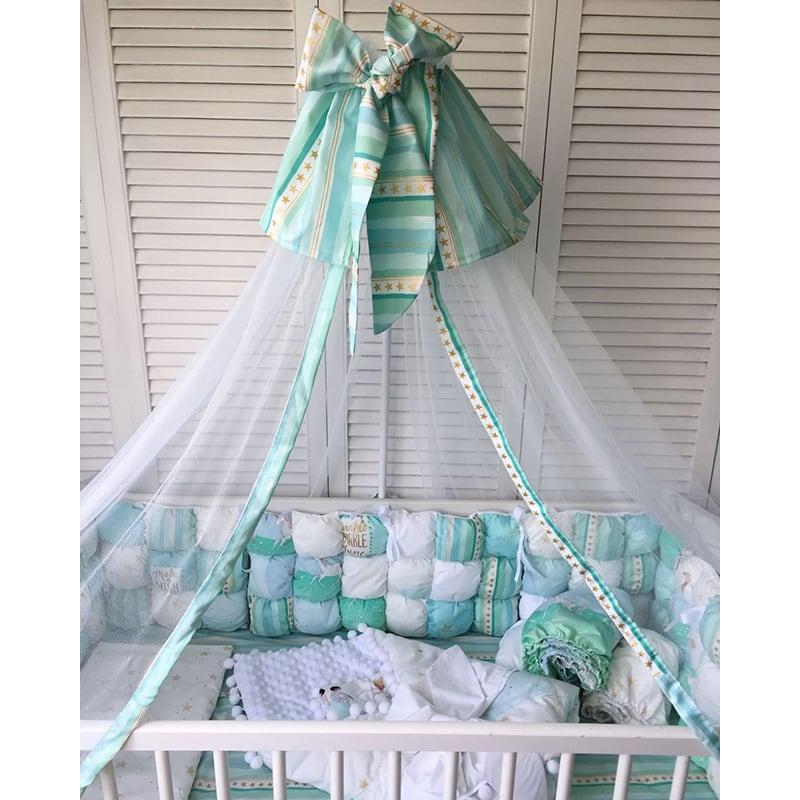 Балдахин на кроватку новорожденному мальчику Мятные Сны