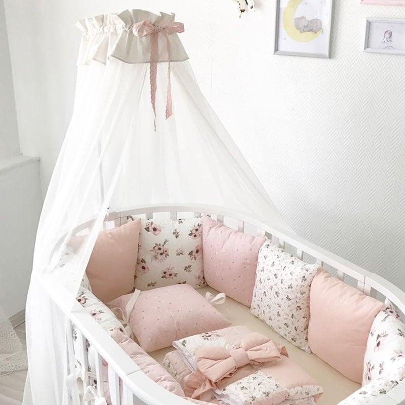 Балдахин на кроватку новорожденной девочке Французская Роза