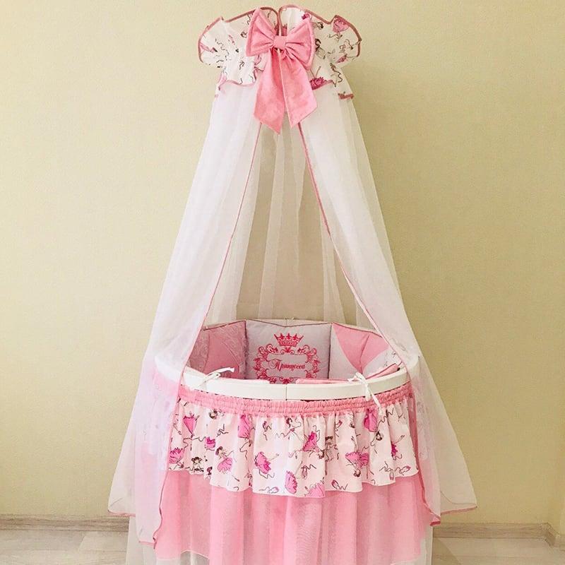 Балдахин на кроватку новорожденной девочке Розовый Миндаль