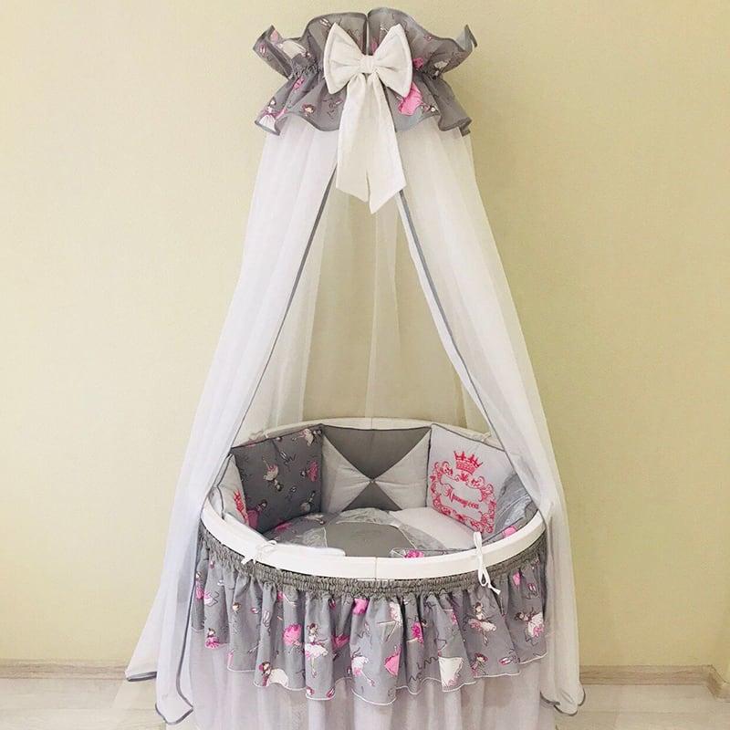 Балдахин на кроватку новорожденной девочке Серебристая Вербена