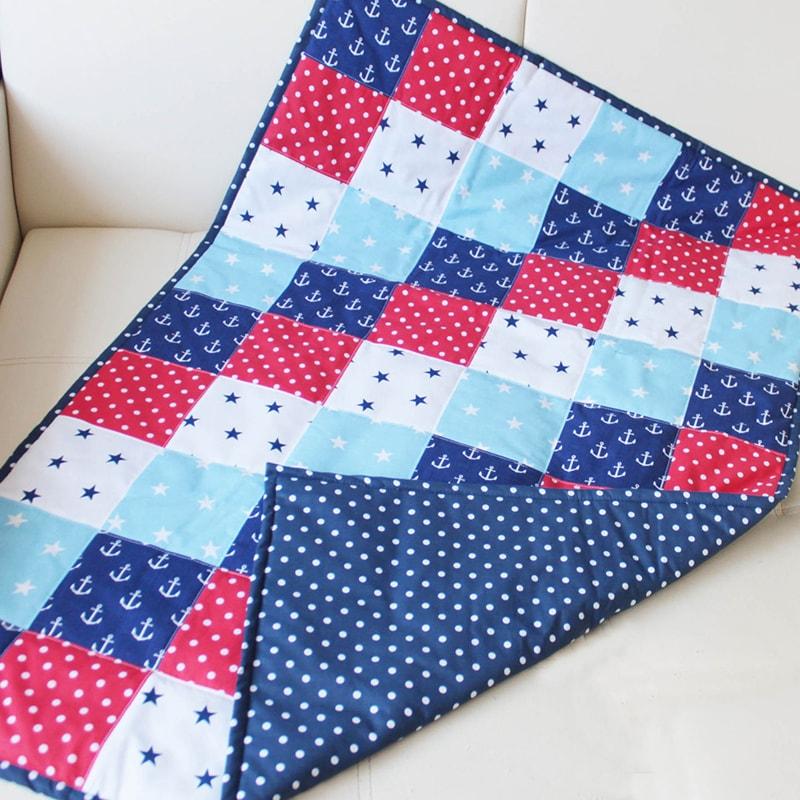 Авторское одеяло для новорожденного мальчика Пэчворк Морской