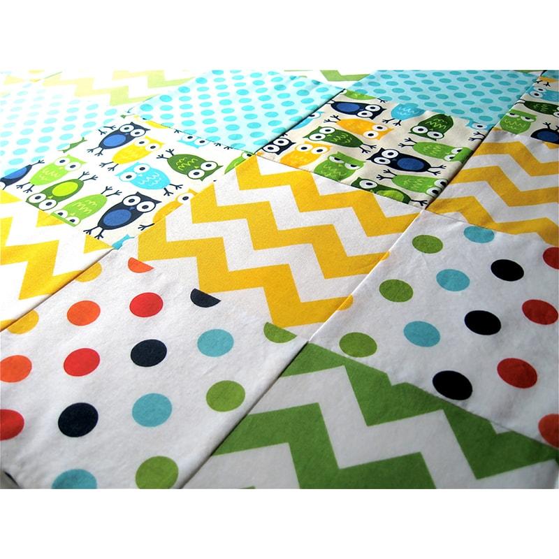 Одеяло для новорожденных в кроватку Пэчворк Сова