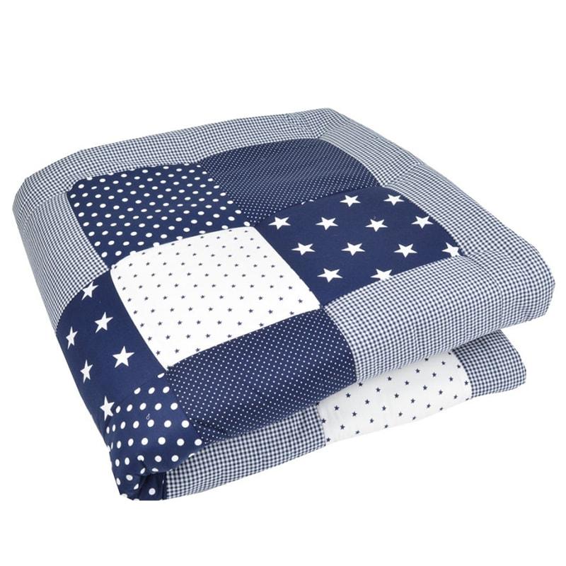 Одеяло для новорожденного мальчика Пэчворк Синяя Звездочка