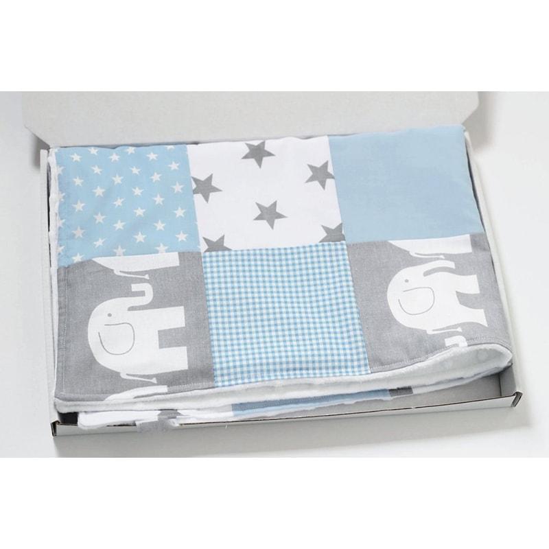 Одеяло для новорожденных Пэчворк Голубой Слоник