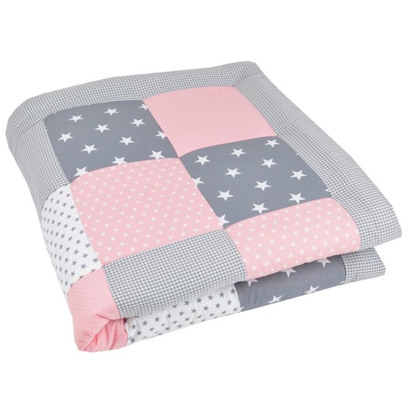 Ковдра для новонародженої дівчинки Печворк Рожева Зірочка