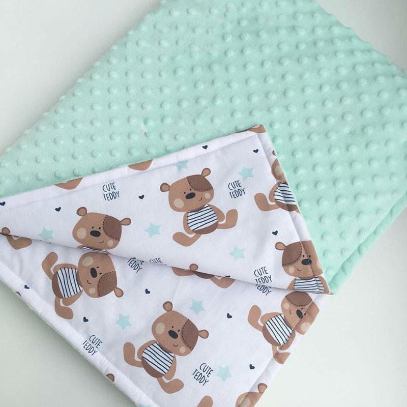 Плед в коляску для новорожденного мальчика Мишка Тедди