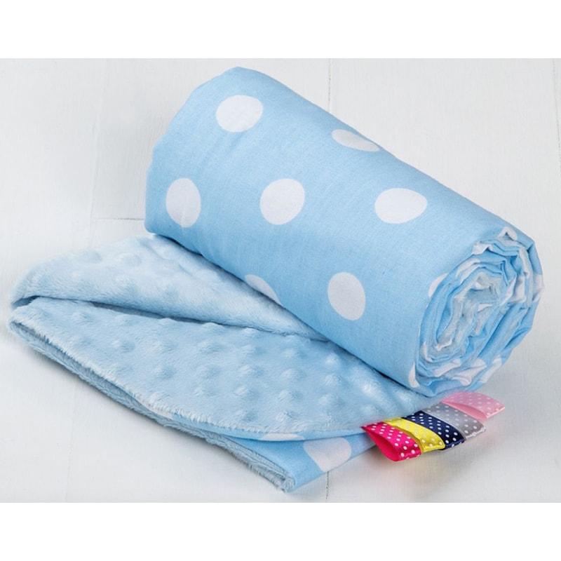 Плед детский в кроватку мальчику Голубой горошек