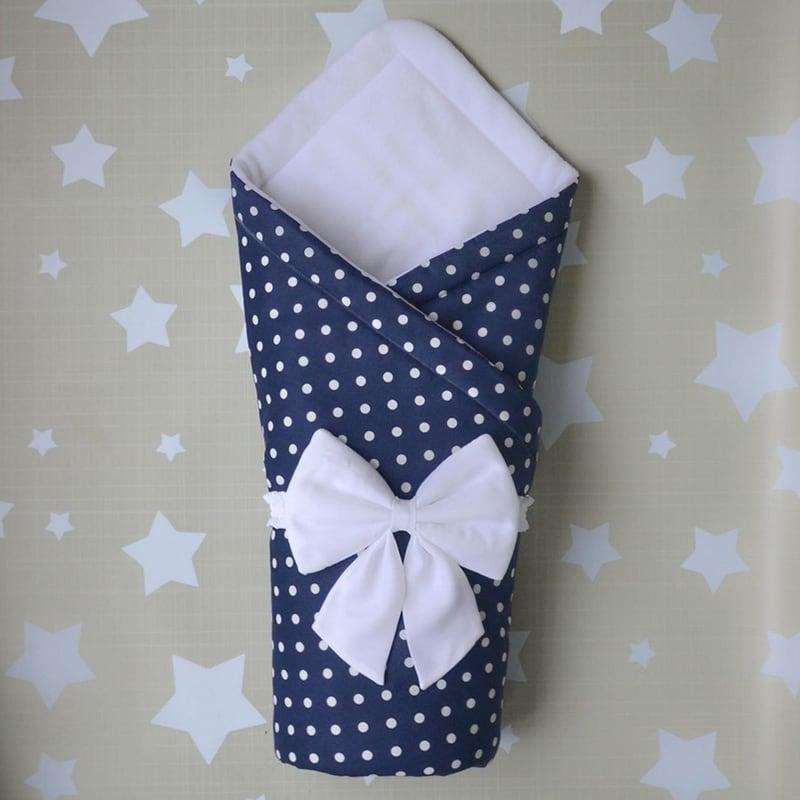 Конверт-одеяло для новорожденных мальчиков Синий Горошек