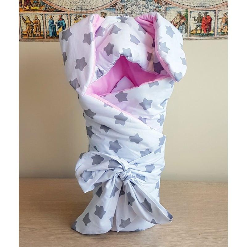Конверт-ковдру для новонародженої дівчинки Рожевий Зайчик