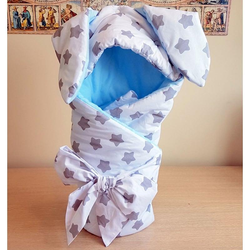 Конверт-плед для мальчика Голубой Зайчишка