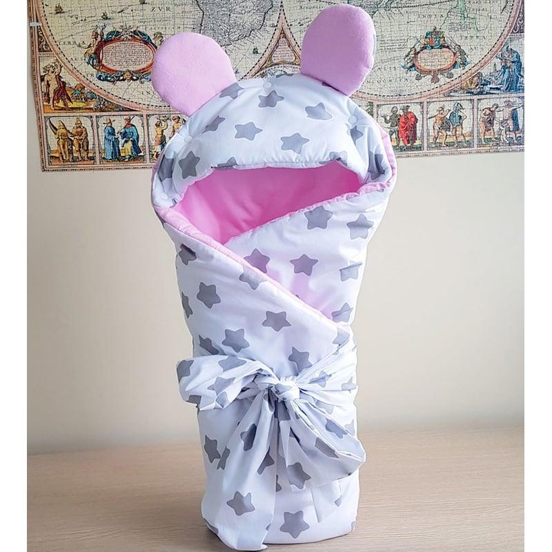 Конверт новонародженій дівчинці Рожева Мишка