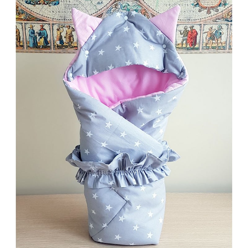 Конверт в коляску новорожденной девочке Кошечка