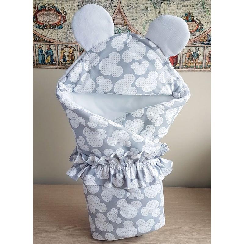 Конверт в коляску новорожденным Серый Микки Маус