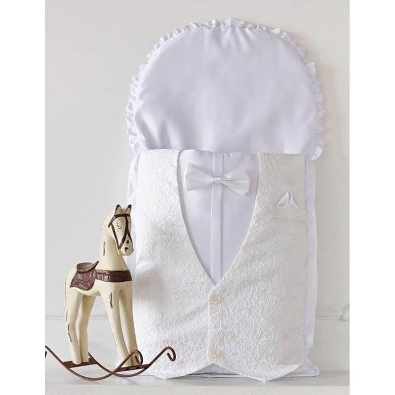 Конверт для новорожденного мальчика Белый Принц