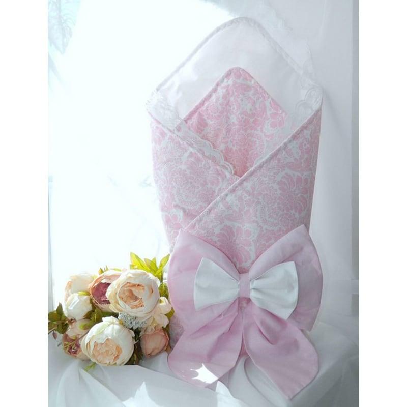 Конверт для девочки на выписку Розовый Барокко
