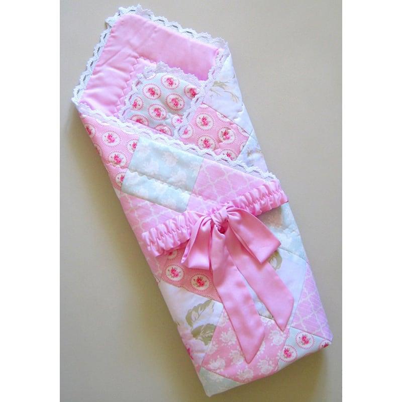 Конверт-плед на выписку девочке Розовый Пэчворк