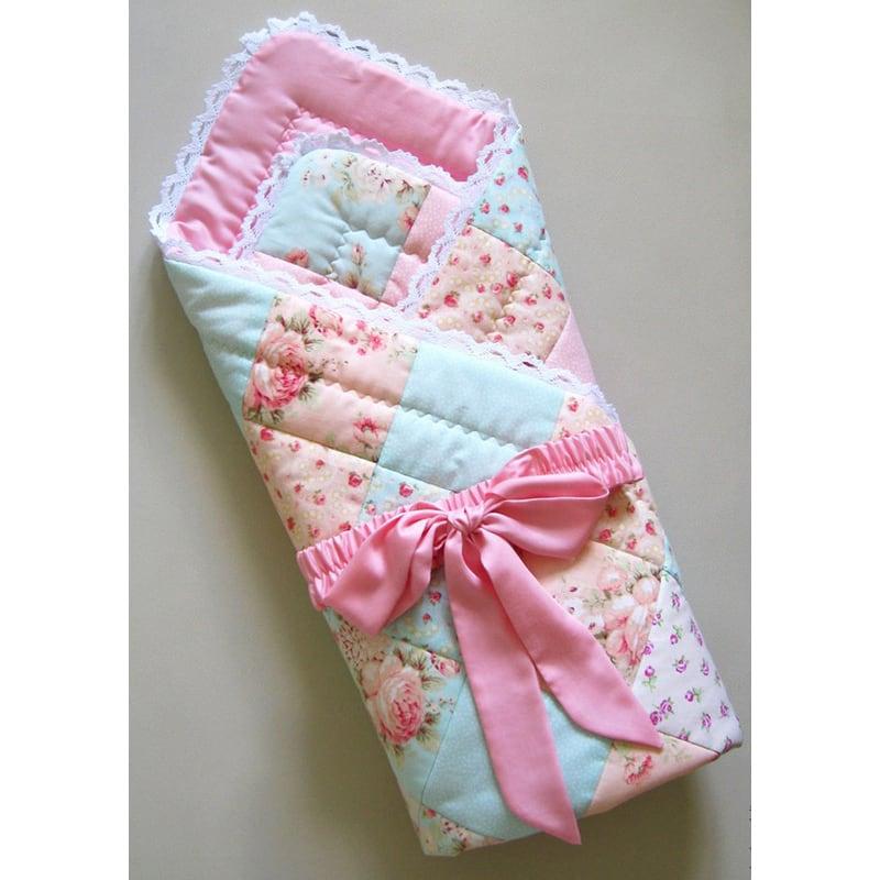 Конверт-ковдру для новонародженої дівчинки Рожеві Мережива