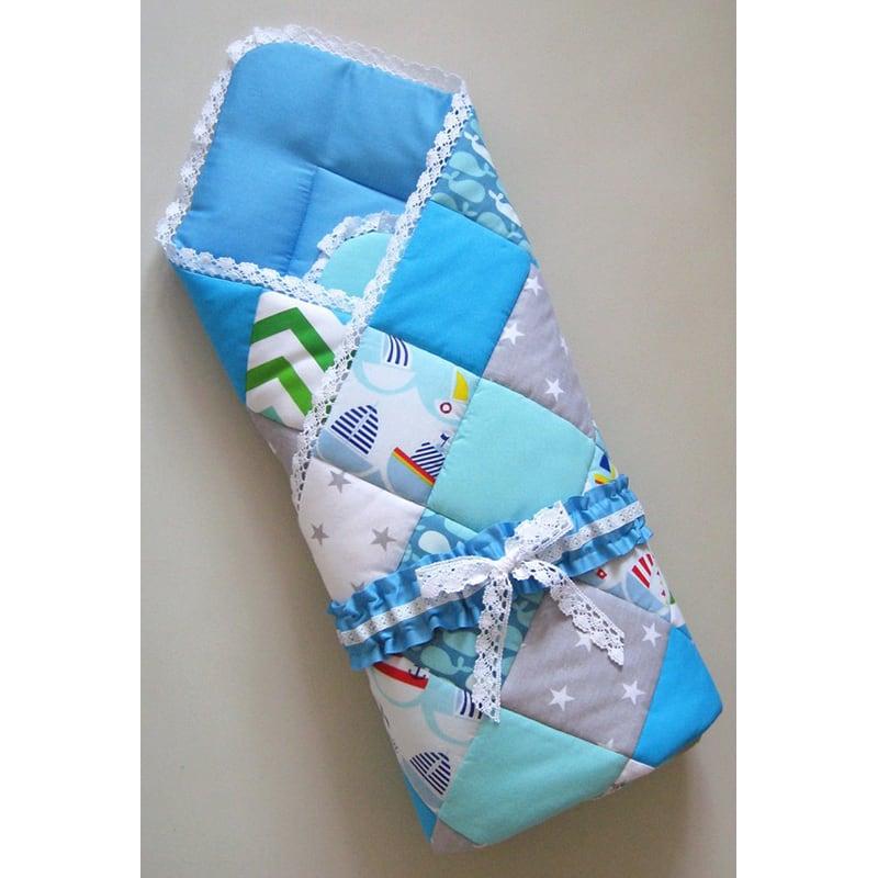 Конверт-плед для новорожденного мальчика Пэчворк Море