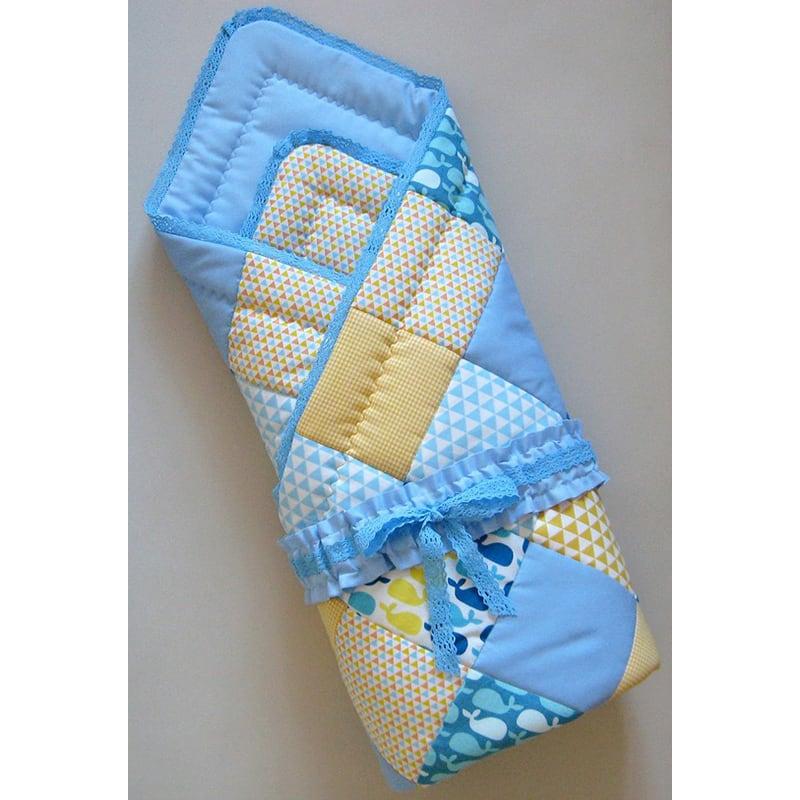 Конверт-плед для новорожденного мальчика Голубой Кит