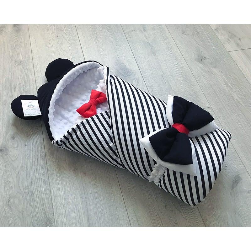 Конверт одеяло для мальчика зима Полосатые Ушки