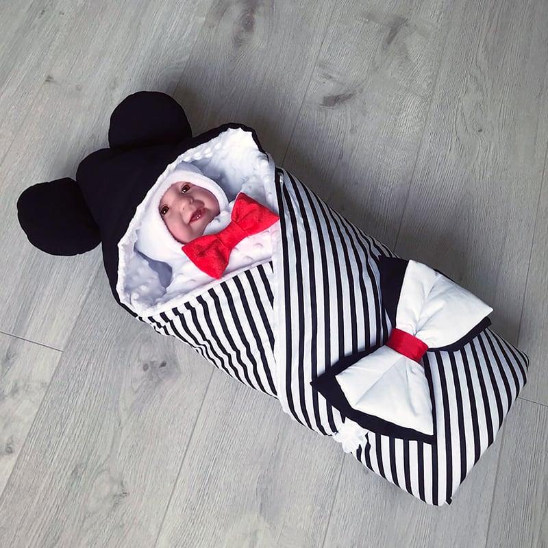 Конверт для немовлят на виписку зимовий Смугастий Ведмедик