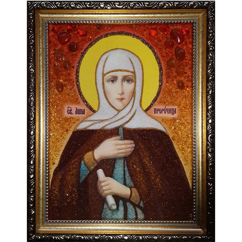Икона в янтаре Св. Анна Пророчица