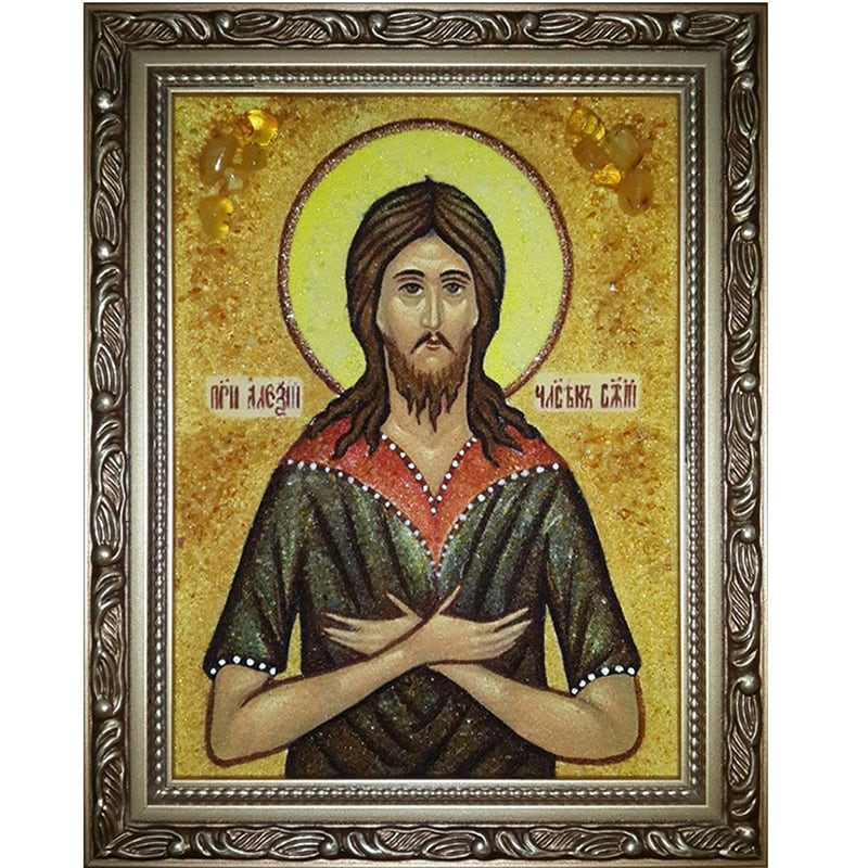 Икона именная из янтаря Св. Преподобный Алексий