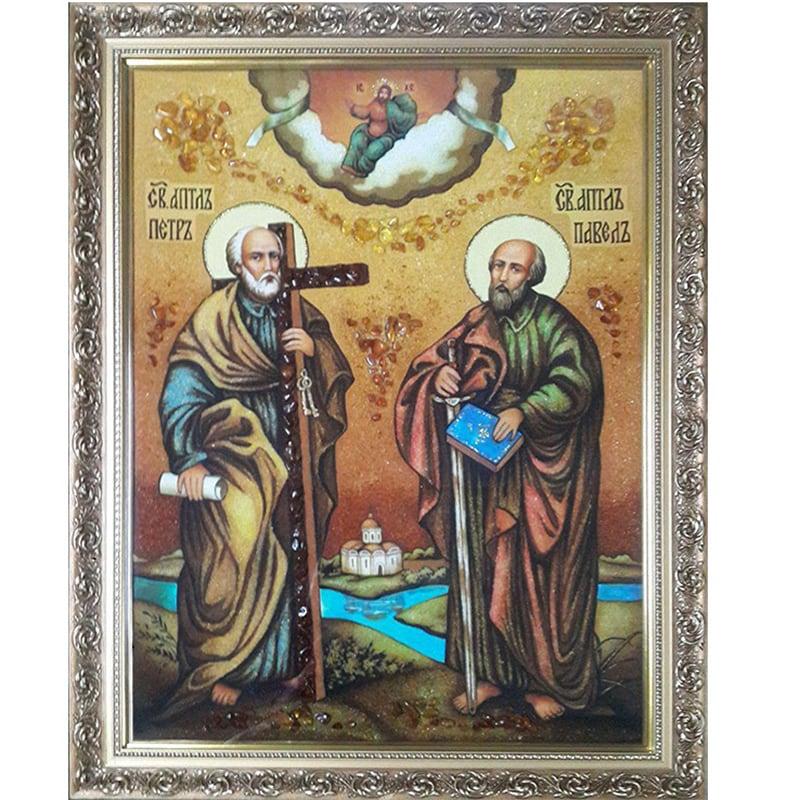 Именная икона из янтаря Св. Апостолы Петр и Павел