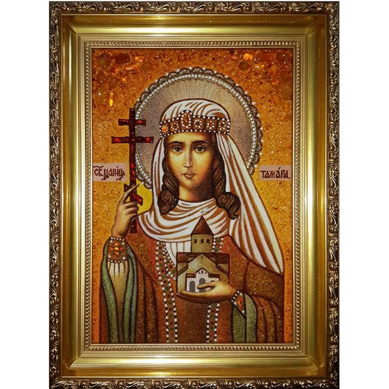 Икона именная из янтаря Святая царица Тамара