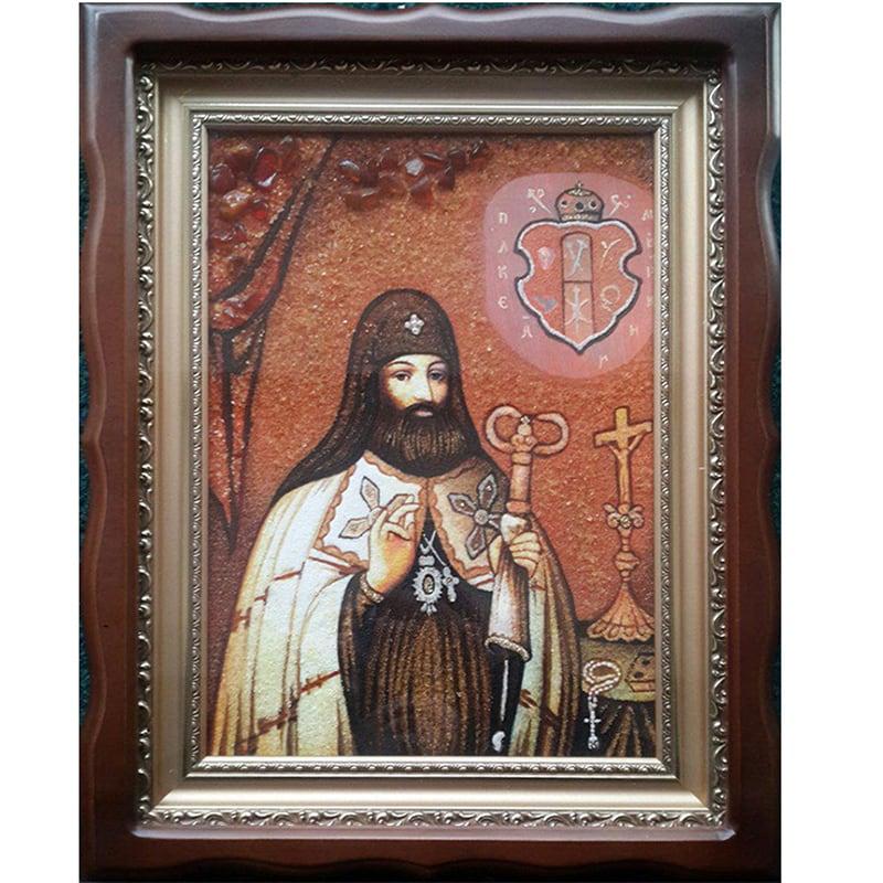 Икона из янтаря Св. митрополит Петр Могила
