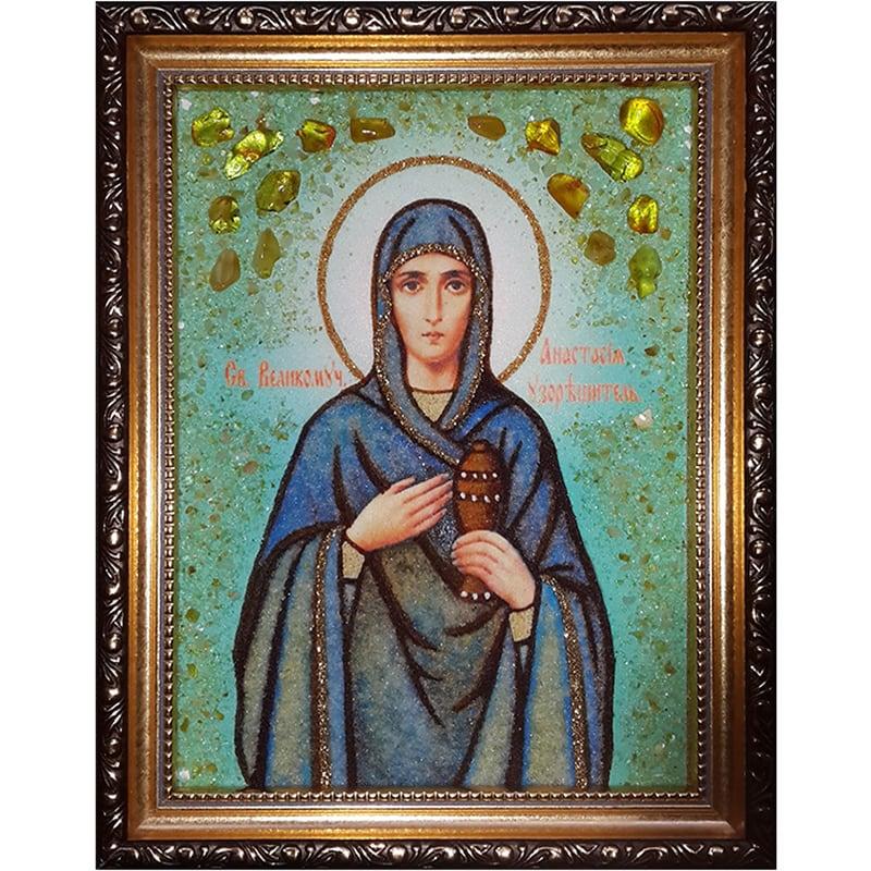 Именная авторская икона из янтаря Св. Анастасия