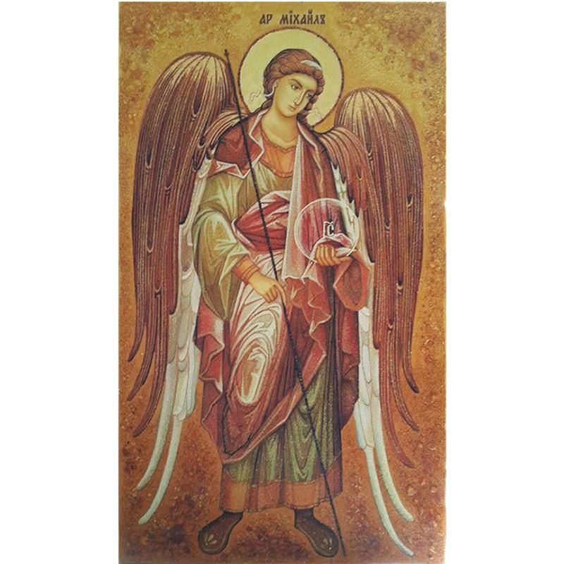 Іменна ікона в бурштині Архангел Михаїл Архистратиг