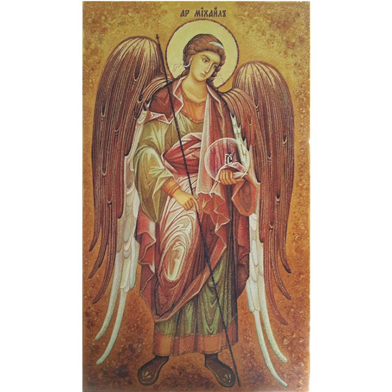 Икона именная в янтаре Архангел Михаил Архистратиг