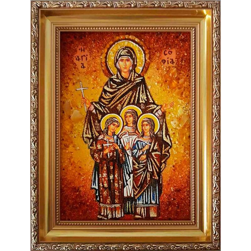 Икона из янтаря Св. мученицы Вера, Надежда, Любовь