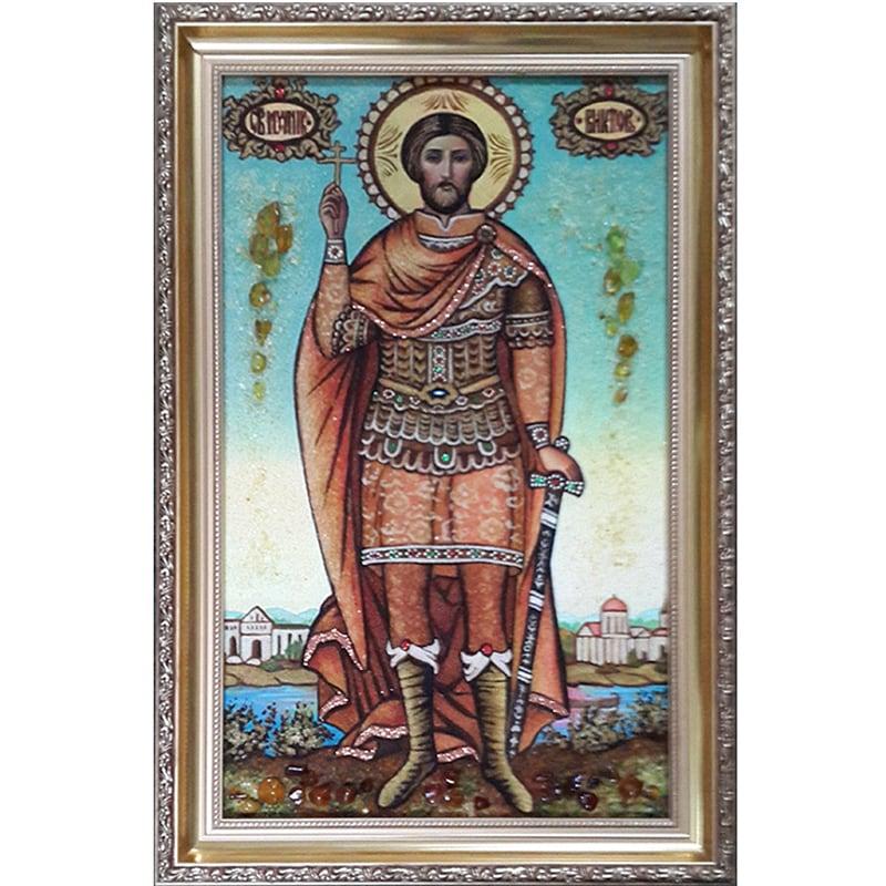Именная икона из янтаря Св. Виктор Дамасский