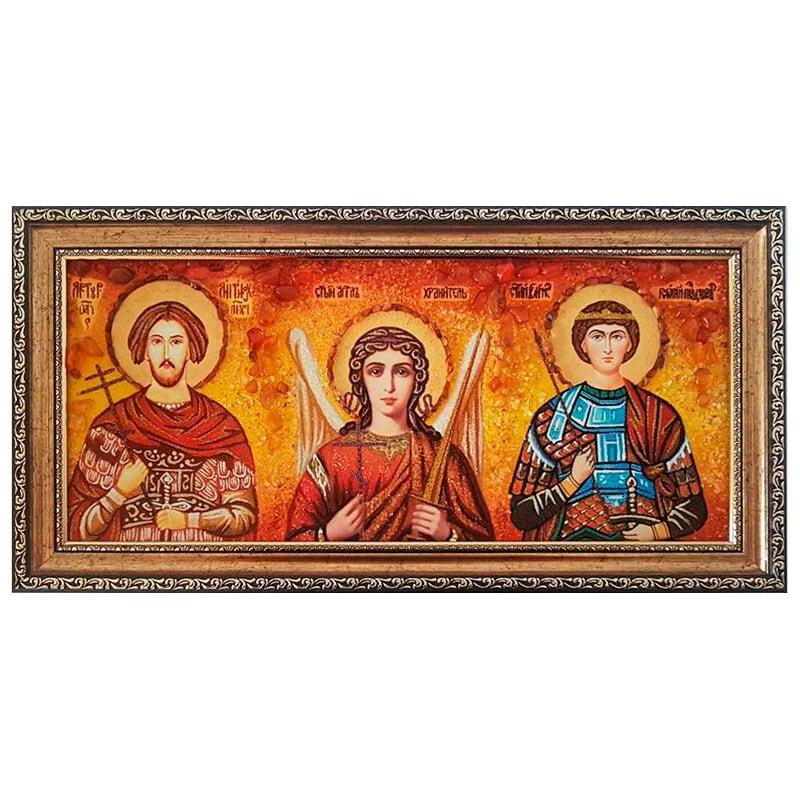 Икона из янтаря Ангел Хранитель, Григорий Победоносец и Артур