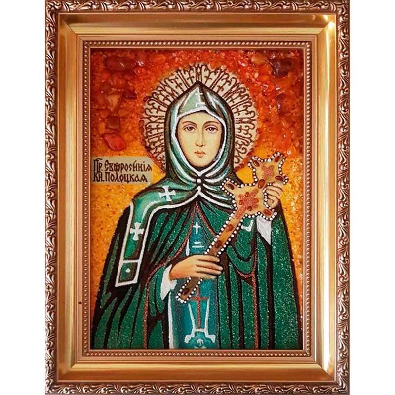 Икона из янтаря именная Св. княжна Ефросинья Полоцкая