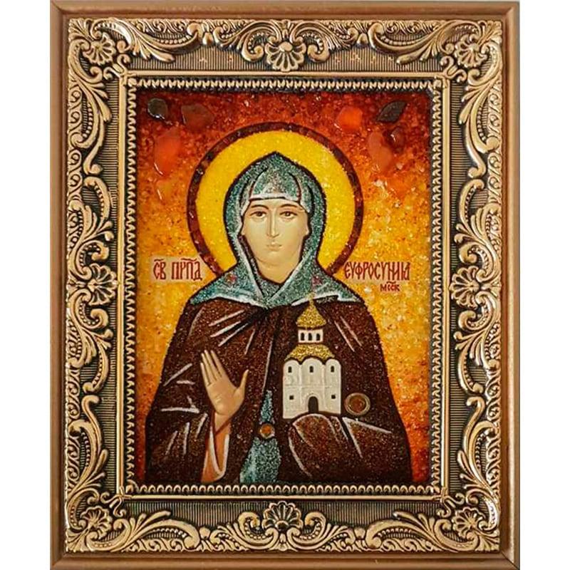 Именная икона из янтаря Ефросиния Полоцкая