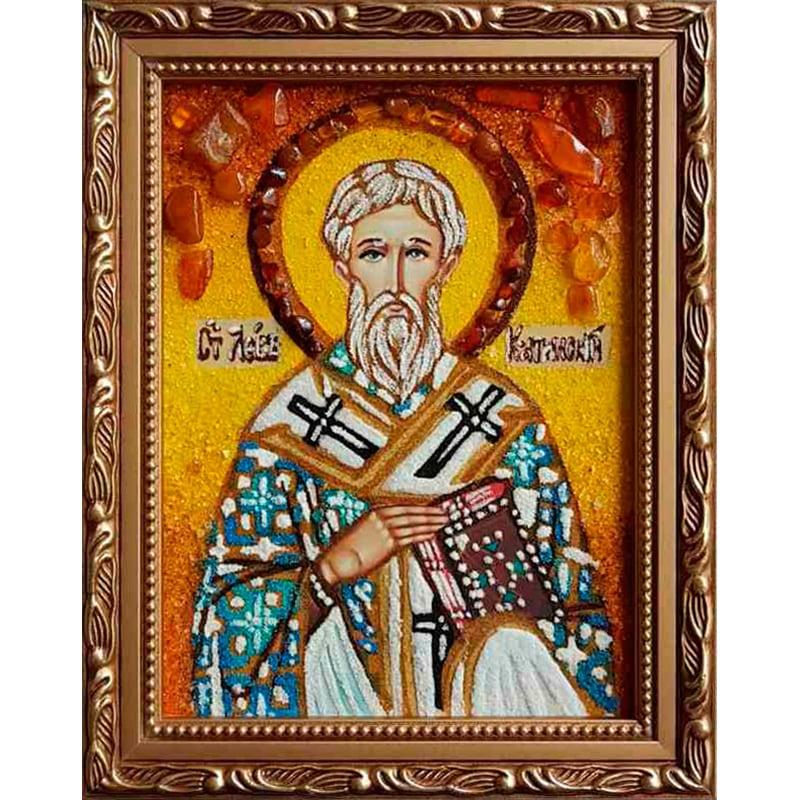 Именная икона из янтаря Св. Лев Катанский