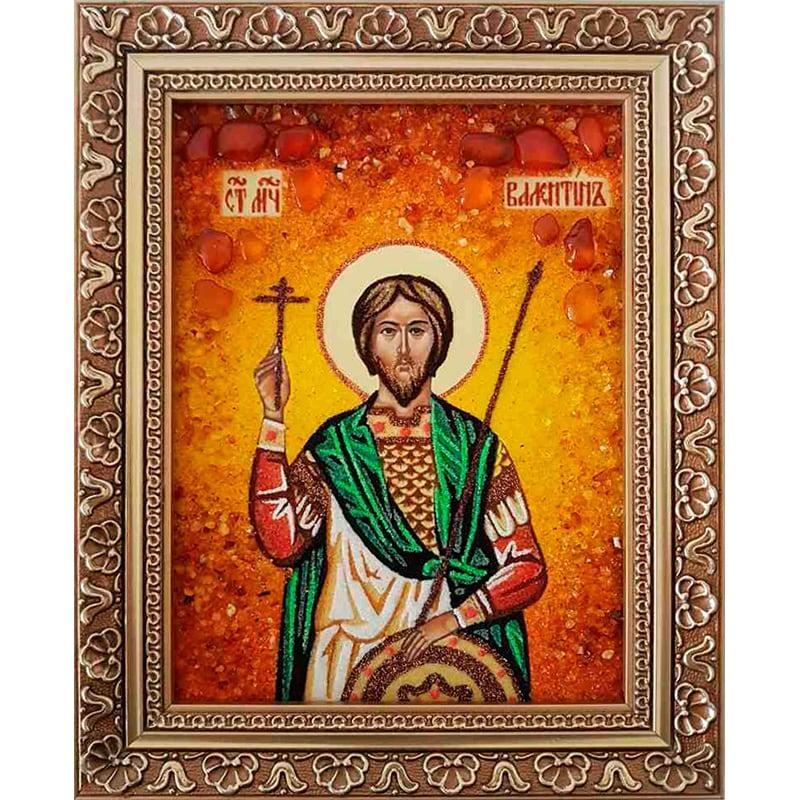 Эксклюзивная именная икона в янтаре Святой Валентин