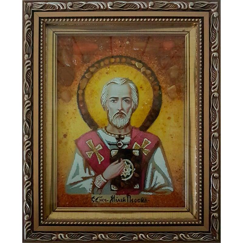 Икона именная в янтаре Св. Мученик Милий Персидский