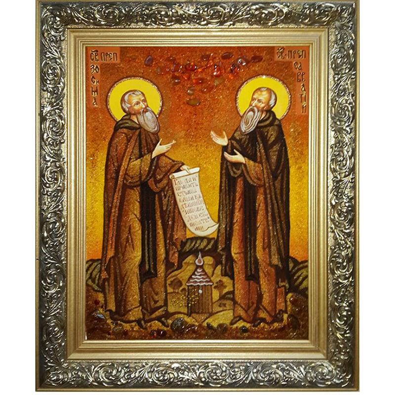 Именная икона из янтаря в подарок Св. Зосима и Савватий Соловецкие