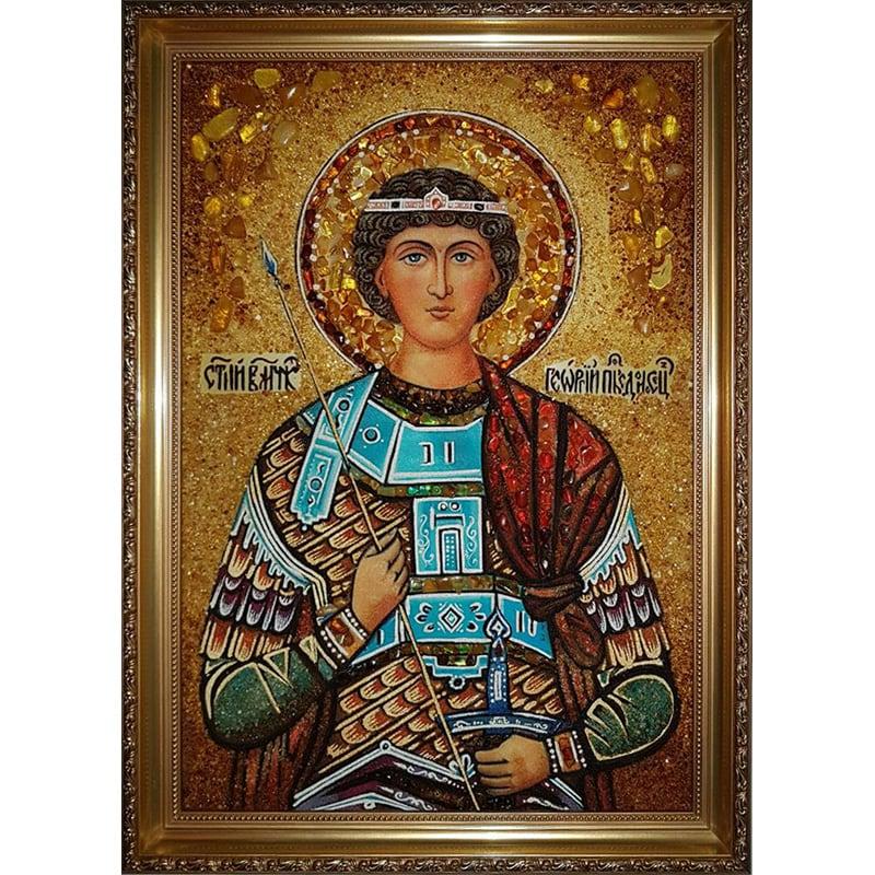 Икона именная в янтаре в подарок Св. Георгий Победоносец