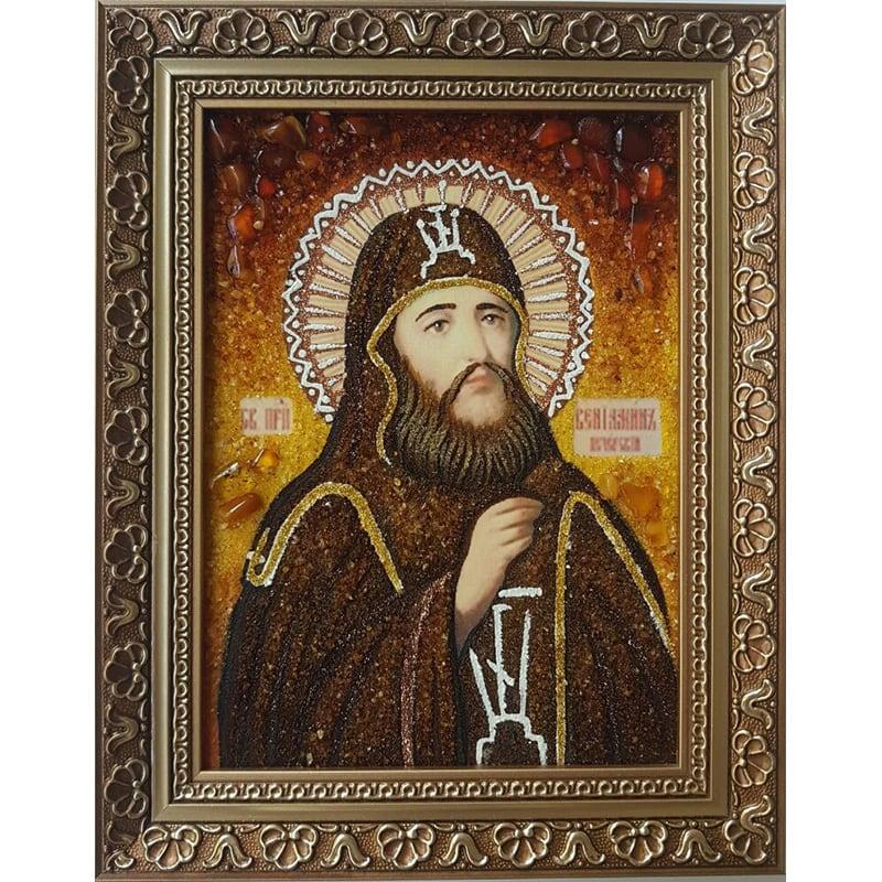 Икона именная из янтаря в подарок Св. Вениамин Печерский